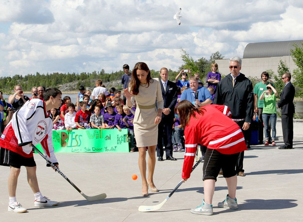 Catherine Duchess of Cambridge drops a ball in Street Hockey