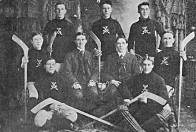 Early 1900s Ice Hockey team with trophy