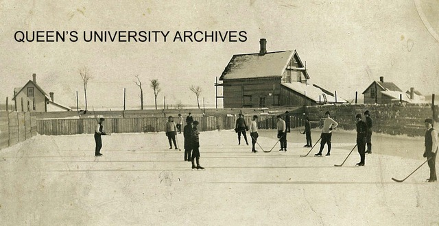 Queen's University Ice Hockey game, outdoor rink in early 1900s