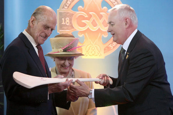 Prince Phillip recieves a Hurling Stick from Christy Cooney
