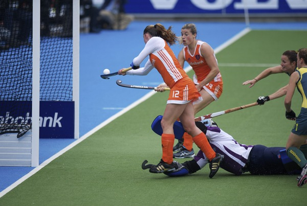 The Netherlands Vs Australia Field Hockey Goal Mouth