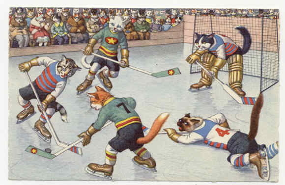 Cats Playing Hockey postcard