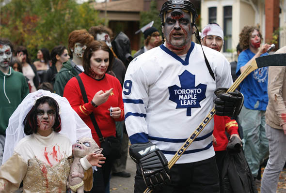 Zombie Hockey Player and Bride