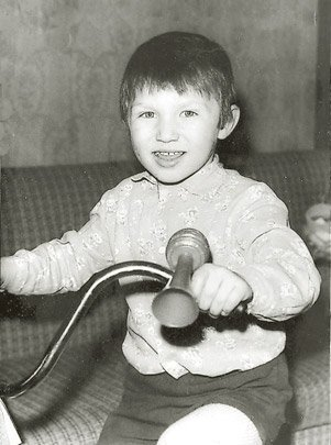 Alex Ovechkin on his bicycle as a boy