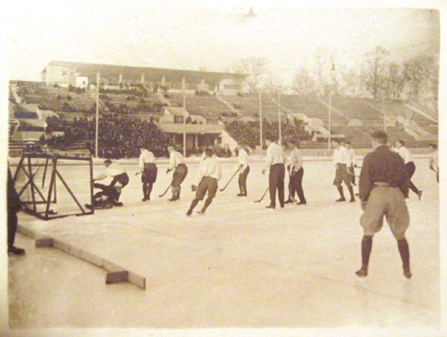 Russian Ice Hockey/Ice Ball in outdoor stadium in Russia