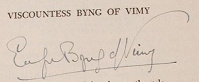 Lady Byng Autograph signed Evelyn Byng of Vimy