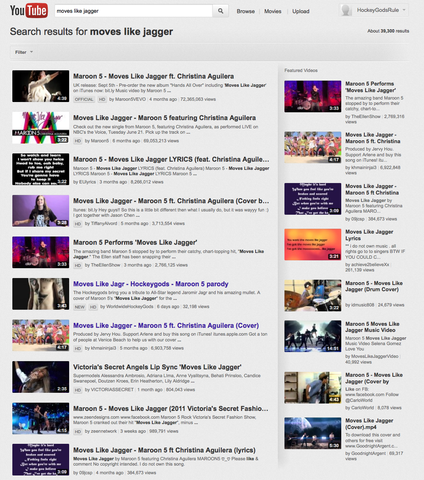 Moves Like Jagr video on home page Moves Like Jagger on YouTube