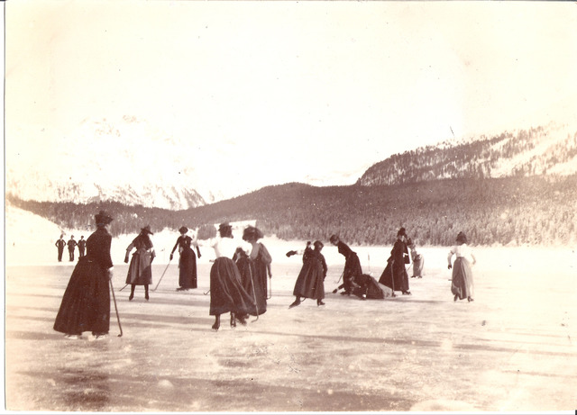 Elizabeth Main Le Blond playing Ice Hockey 1890
