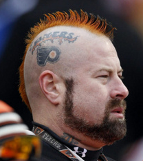 Philadelphia Flyers Fan Sporting his Hair & Tattoo in Support
