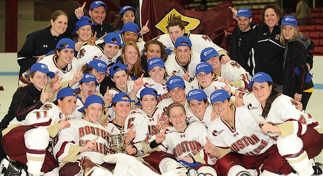 Boston College Girls Ice Hockey Team Celebrate Conference Title