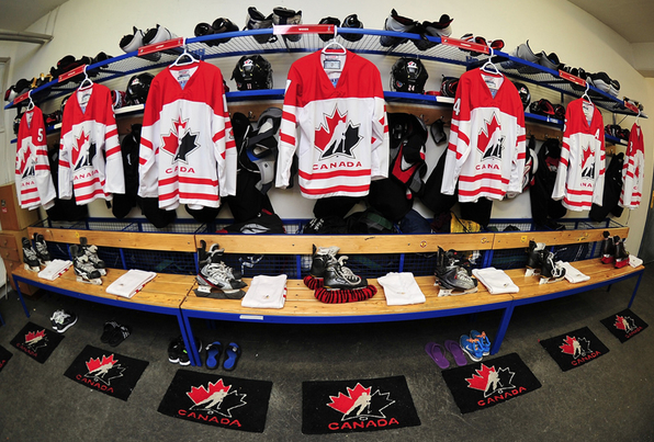 Canada Girls U18 Team Dressing Room at World Championships