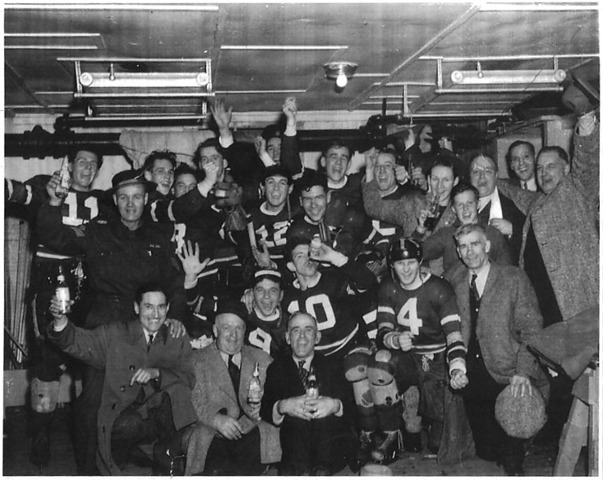 Portage Terriers celebrate the Championship in the dressing room