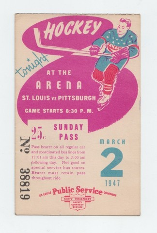 St Louis Flyers Ice Hockey Bus Pass 1947