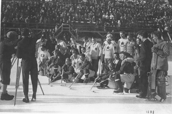 Winter Olympics 1928 - Canada / Swiss Pose for Photos after Game
