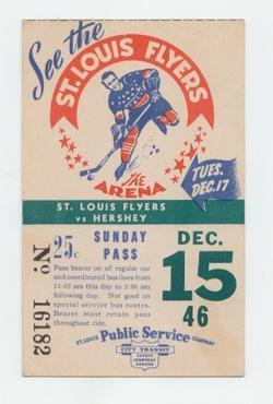 Hockey Bus Pass 1946  St Louis Flyers