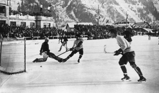 Canada & USA in Gold Medal Game Action 1924 Winter Olympics