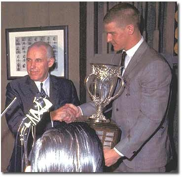 Bobby Orr Accepts The Calder Trophy From Clarence Campbell 1967