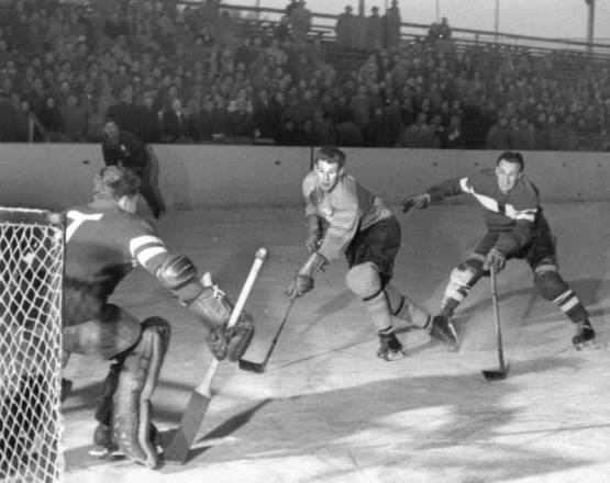 Sven Tumba Fires a Shot at West German Goalie - 1953 Worlds