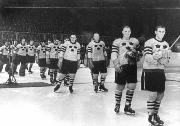 Team Sweden at 1957 World Ice Hockey Championship Award Ceremony