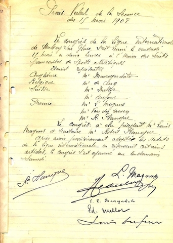 Ice Hockey History - IIHF - Founding Document - 1908