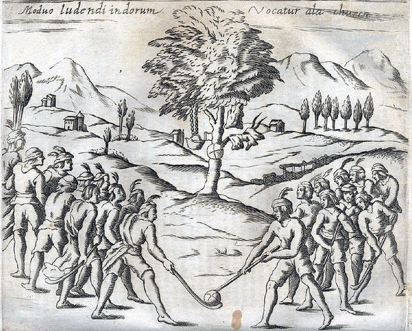 Mapuche Indians Playing Chueca / Palín - 1646 - Chile