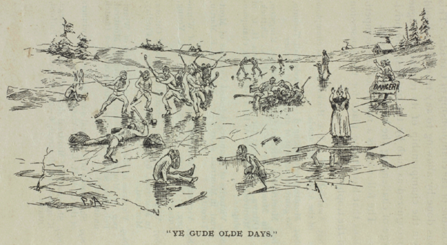 Ye Guld Olde Days - Pond Hockey drawing from 1899