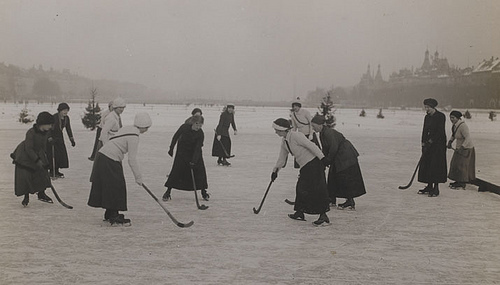 Bandy Being Played by Women on the Peblinge Søen in Denmark
