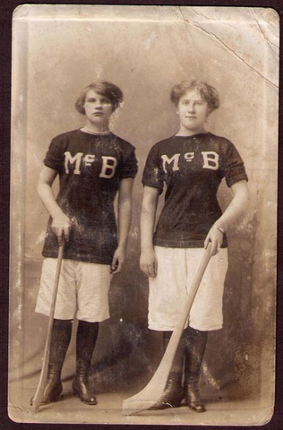 2 Young Ladies with Hurling Sticks - Late 1800s