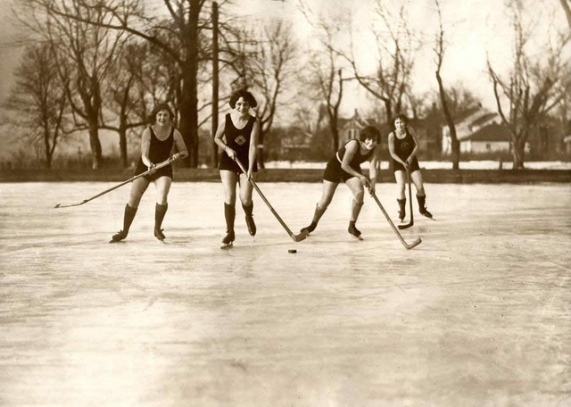 Women Playing Pond Hockey in Minneapolis - 1925