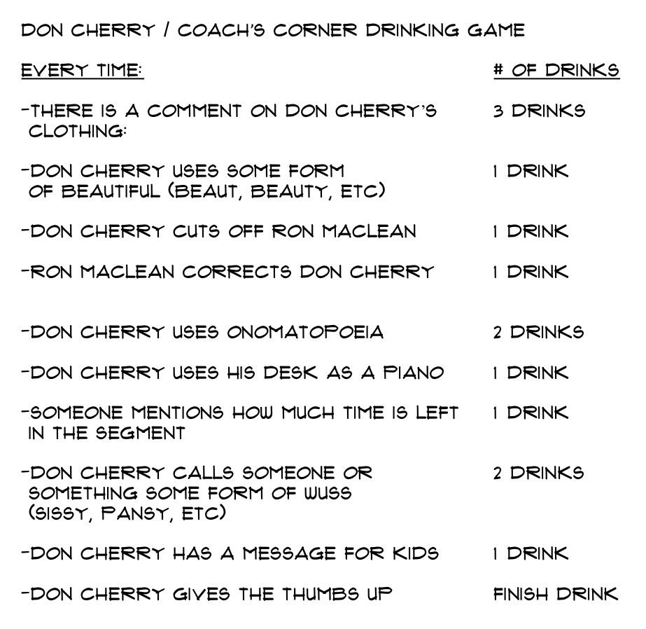 Don Cherry Coach S Corner Drinking Game Hockeygods