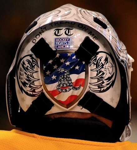Tim Thomas - Goalie Mask Back Plate with Personal Art Choices
