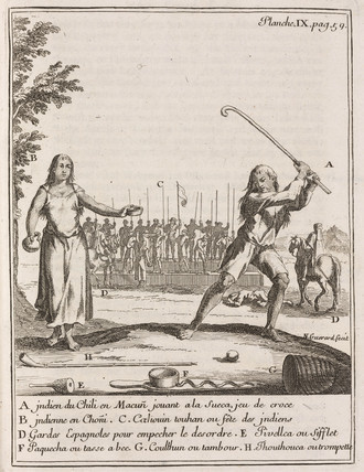 Chilean Indian playing a type of hockey - 1712-1714