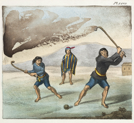 Araucano Indians playing Chueca - Chile - 1820-1821