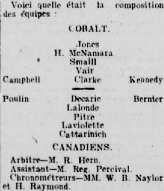 Montreal Canadiens 1st Game Roster vs Cobalt Silver Kings - 1910