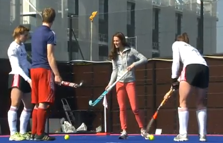 Duchess of Cambridge Kate Middleton Talking Some Field Hockey