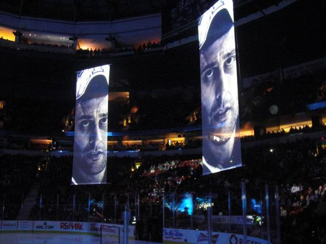 Roberto Luongo Banners - Pre-Game at Rodgers Arena in Vancouver
