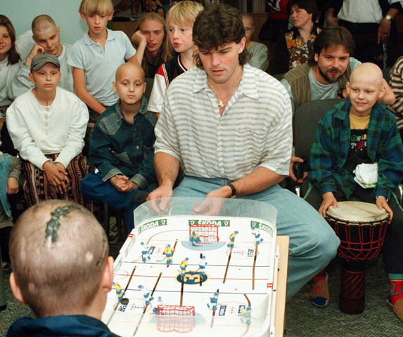 Jaromir Jagr Plays Table Hockey at Children's Oncology Clinic