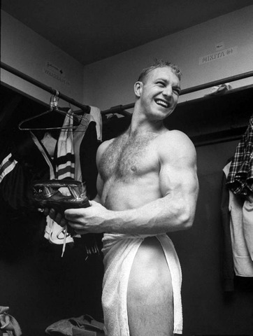 Bobby Hull Shirtless in Chicago Blackhawks Dressing Room