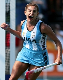 Luciana Aymar Celebrates after Scoring a Goal