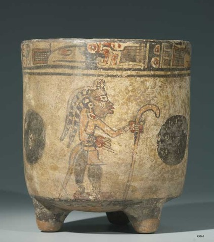 Southern Maya Vase or Planter - Figure with Curved Hockey Stick