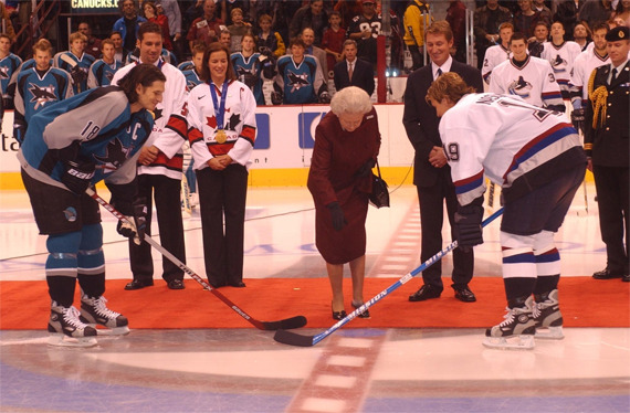 Queen Elizabeth II - Drops the Puck at Canucks Game - 2002