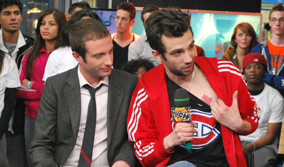 Jay Baruchel at Much Music - Showing Off His Maple Leaf Tattoo