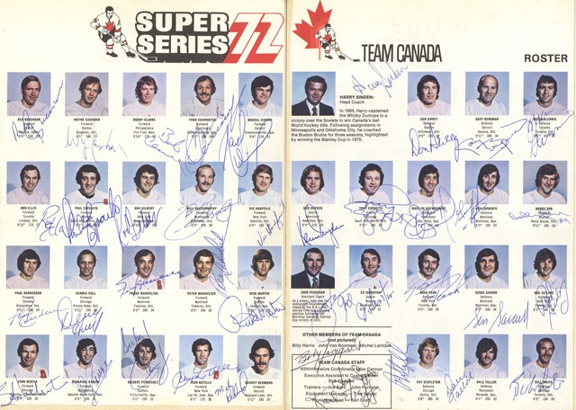 Autographed Team Canada Roster - 1972 - Super Series