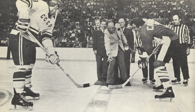 Prime Minister Trudeau Drops 1st Puck - Summit Series - 1972
