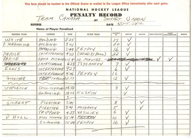 Summit Series - Super Series - Penalty Record - 09 / 28 - 1972