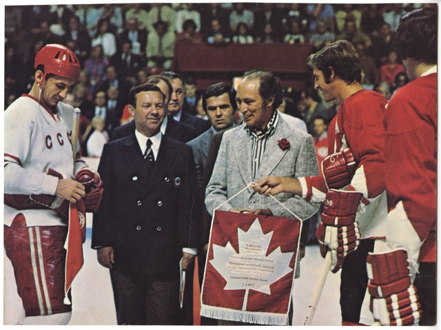 Prime Minister Trudeau Holds the 1st Puck - Summit Series - 1972