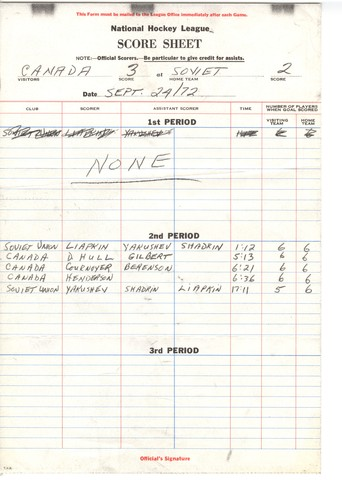 Summit Series - Super Series - Score Sheet - September 24, 1972