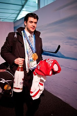 Brent Seabrook - Molson Canadian Champagne Bottle & Olympic Gold