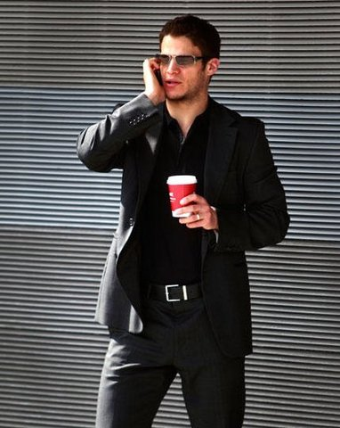 Kevin Bieksa in Black Suit With Sunglasses