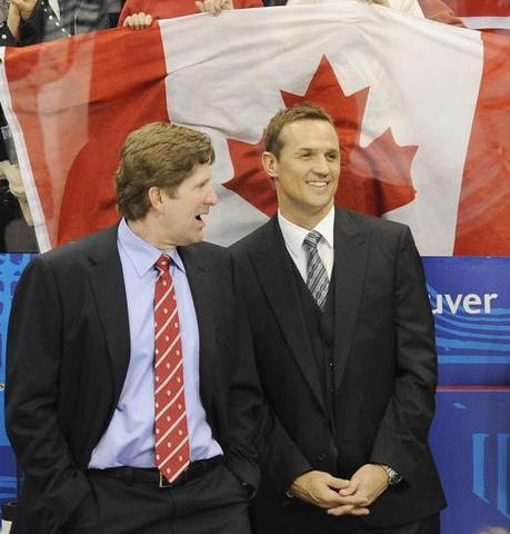 Mike Babcock & Steve Yzerman - Sharing A Laugh - 2010 Olympics